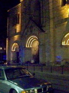 Beleuchtete Herz-Jesu-Kirche
